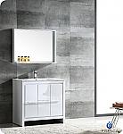 "Allier 36"" Modern Bathroom Vanity Glossy White Finish"