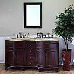 Bella 62 inch Light Walnut Finish Double Bathroom Vanity