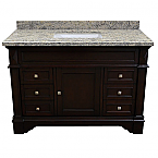 ADF Grande 48 inch Stone Top Single Sink Bathroom Vanity Espresso Finish