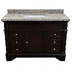 ADF Grande 48 inch Stone Top Single Sink Bathroom Vanity Espresso Finish