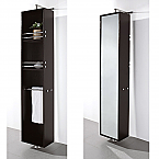 Rotating Floor Linen Cabinet Espresso Finish with Mirror