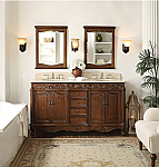 Adelina 64 inch Antique Walnut Double Bathroom Vanity with Mirror and Backsplash Option