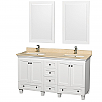 "Acclaim 60"" Double Bathroom Vanity in White, Undermount Square Sinks, and 24"" Mirrors with Countertop Options"