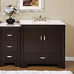 Silkroad Cream Marfil Marble Top Bathroom Vanity
