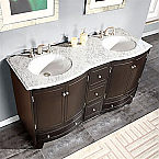 Accord Traditional 60 inch Double Bathroom Carrara White Marble Top