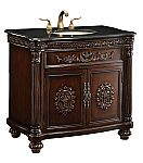 36 inch Adelina Antique Bathroom Vanity Black Galaxy Granite Top