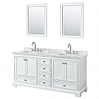 72 inch Double Sink Transitional White Finish Bathroom Vanity Set