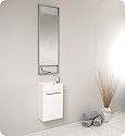 "16"" Small White Modern Bathroom Vanity with Faucet, Medicine Cabinet and Linen Side Cabinet Option"
