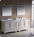 "84"" Antique White Traditional Double Sink Bathroom Vanity with Top, Sink, Faucet and Linen Cabinet Option"