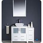 "42"" White Modern Bathroom Vanity Vessel Sink with Faucet and Linen Side Cabinet Option"