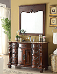 Adelina 50 inch Antique Bathroom Vanity Brown Finish Brown Marble Top