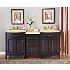 Accord Antique 72 inch Double Sink Bathroom Vanity Eellow Onyx countertop