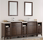 "84"" Antique Coffee Double Sink Traditional Bathroom Vanity in Faucet Option"