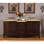 Silkroad Antique Double Sink Vanity HYP-0726-TL-72