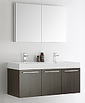 "Fresca Vista 48"" Gray Oak Wall Hung Double Modern Bathroom Vanity with Faucet, Medicine Cabinet and Linen Side Cabinet Option"