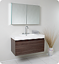 "Fresca Mezzo 39"" Gray Oak Modern Bathroom Vanity with Faucet, Medicine Cabinet and Linen Side Cabinet Option"