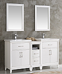 60 inch White Finish Double Sink Traditional Bathroom Vanity with Mirror