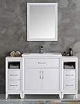 "54"" White Traditional Bathroom Vanity in Faucet Option"