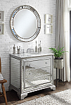 Adelina 42 inch Mirrored Bathroom Vanity cabinet White Marble Top