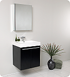 "23"" Black Modern Bathroom Vanity with Faucet, Medicine Cabinet and Linen Side Cabinet Option"