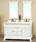 Art Bella 60 inch Bathroom Vanity White Finish Cream Marble Top