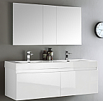 "60"" White Wall Hung Double Sink Modern Bathroom Vanity with Faucet, Medicine Cabinet, Linen Side Cabinet Option"