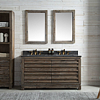 60 inch Distressed Wood Double Bathroom Vanity Stone Countertop