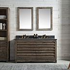 60 inch Distressed Wood Double Bathroom Vanity Stone Countertop