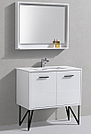 "Modern Lux 36"" High Gloss White Bathroom Vanity w/ Quartz Countertop and Matching Mirror"