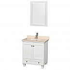 """Acclaim 30"""" Single Bathroom Vanity in White, Ivory Marble Countertop, Undermount Square Sink, and 24"""" Mirror"""