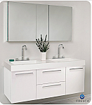 "Fresca Opulento 54"" White Modern Double Sink Bathroom Vanity with Faucet, Medicine Cabinet and Linen Side Cabinet Option"