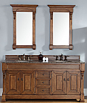"James Martin Brookfield Collection 72"" Double Vanity, Country Oak"