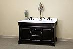 Bella 60 inch Bathroom Vanity Espresso Finish White Marble Top