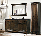 Antique 60 inch Double Sink Bathroom Vanity Antique Coffee Finish