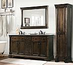 Abel 60 inch Double Sink Bathroom Vanity Antique Coffee Finish