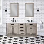"Solid Hardwood 72"" Double Bathroom Vanity, Distressed Grey Oak Finish, with Matching Mirrors"