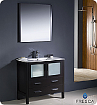 "Fresca Torino 36"" Espresso Modern Bathroom Vanity with Faucet and Linen Side Cabinet Option"