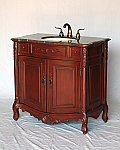 "36"" Adelina Antique Style Single Sink Bathroom Vanity in Cherry Finish with Brown Marble Top"