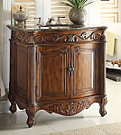"Adelina 32"" Antique Bathroom Vanity Walnut Finish Baltic Brown Granite top"
