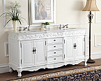 Adelina 72 inch White Antique Double Bathroom Vanity