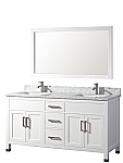 Adelina 60 inch Contemporary White Finish Double Sink Bathroom Vanity Cabinet