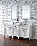 Abstron Contemporary 72 inch Double Sink Bathroom Vanity Cottage White Finish No Top