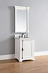 Abstron 26 inch Cottage White Finish Single Sink Traditional Bathroom Vanity Optional Countertop
