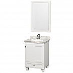 """Acclaim 24"""" Single Bathroom Vanity in White, Undermount Square Sink, and 24"""" Mirror with Countertop Options"""