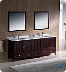 "84"" Mahogany Traditional Double Sink Bathroom Vanity with Top, Sink, Faucet and Linen Cabinet Option"