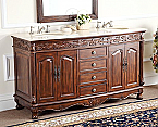 Adelina 63 inch Antique Double Bathroom Vanity Chestnut Finish