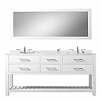 Cadale 72 inch White Double Sink Bathroom Vanity One Mirror