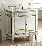 32 inch Adelina Mirrored Bathroom Vanity Carrara Marble Top