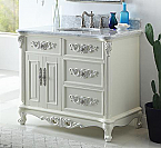 "Antique Style 42"" Collection White Bathroom Vanity"