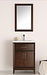 24 inch Antique Coffee Traditional Bathroom Vanity with Mirror